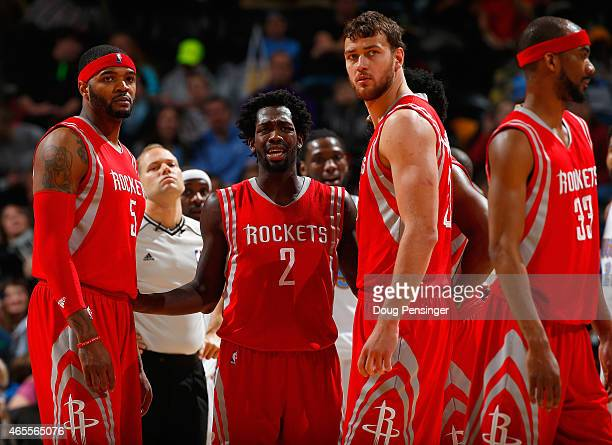 Josh Smith Patrick Beverley James Harden Donatas Motiejunas and Corey Brewer of the Houston Rockets face the Denver Nuggets at Pepsi Center on March...