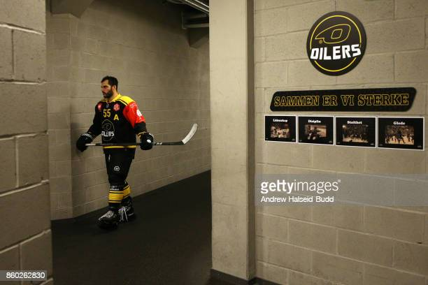 Josh Soares of Stavanger Oilers makes his way to the arena before the Champions Hockey League match between Stavanger Oilers and KalPa Kuopioat at...