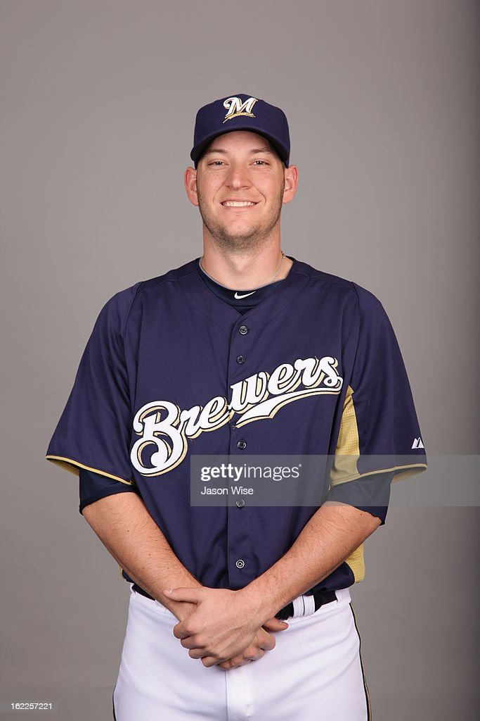 Josh Stinson #54 of the Milwaukee Brewers poses during Photo Day on February 17, 2013 at Maryvale Baseball Park in Phoenix, Arizona.