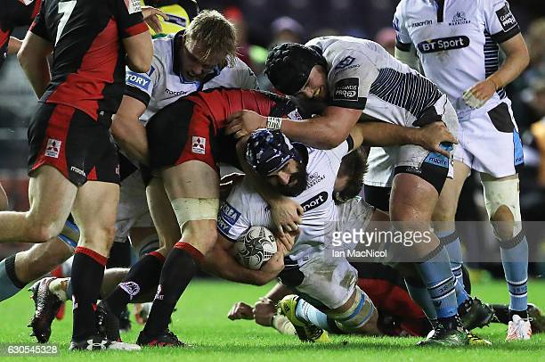 Josh Strauss of Glasgow is tackled by Cornell du Preez of Edinburgh Rugby during the Guinness Pro 12 match between Edinburgh Rugby and Glasgow...