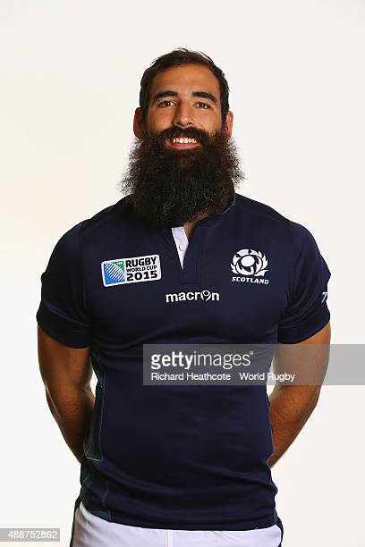 Josh Strauss of Scotland during the Scotland Rugby World Cup 2015 squad photo call at the Hilton Puckrup Hall Hotel on September 17 2015 in...