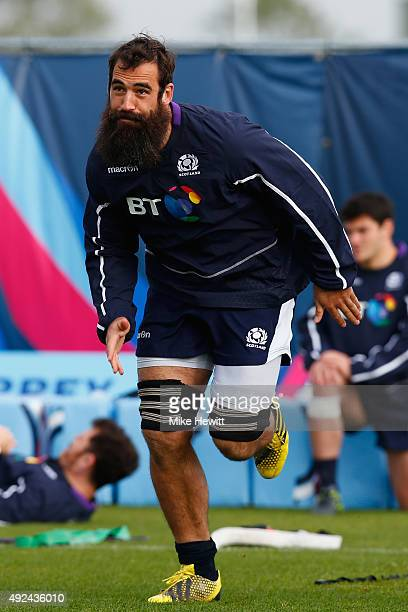 Josh Strauss of Scotland in action during a Scotland Training session ahead of their Rugby World Cup Quarter Final against Australia at Surrey Sports...