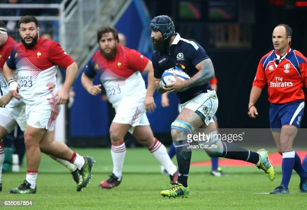 Josh Strauss of Scotland in action during the RBS 6 Nations tournament match between France and Scotland at Stade de France on February 12 2017 in...