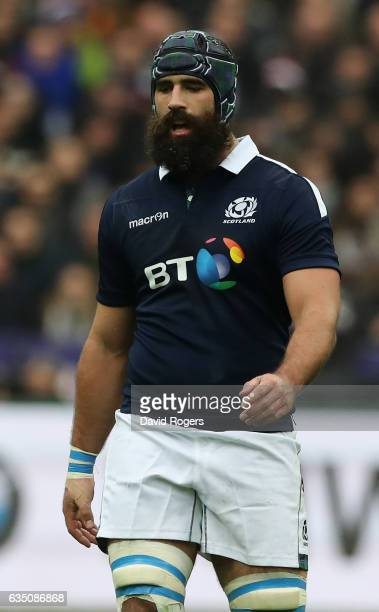 Josh Strauss of Scotland looks on during the RBS Six Nations match between France and Scotland at Stade de France on February 12 2017 in Paris France