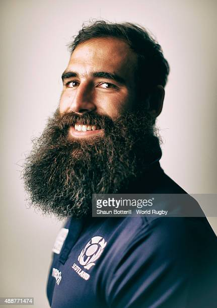 Josh Strauss of Scotland poses for a portrait during the Scotland Rugby World Cup 2015 squad photo call at the Hilton Puckrup Hall on September 17...