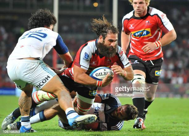 Josh Strauss of the Lions scores his try during the Vodacom Super Rugby match between Lions and Blues from Coca Cola Park on March 04 2011 in...