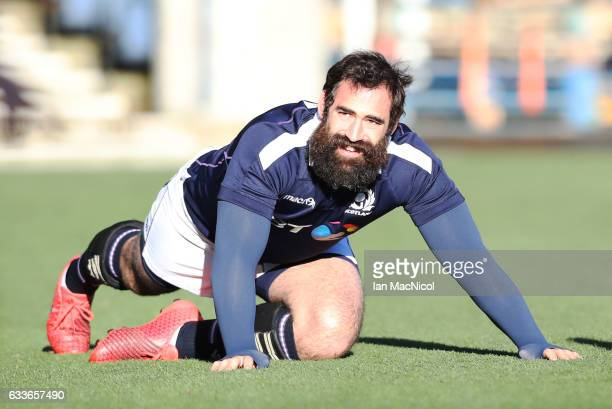 Josh Strauss takes part in the captains run prior to tomorrow's 6 Nations match between Scotland and Ireland at Murrayfield on February 3 2017 in...