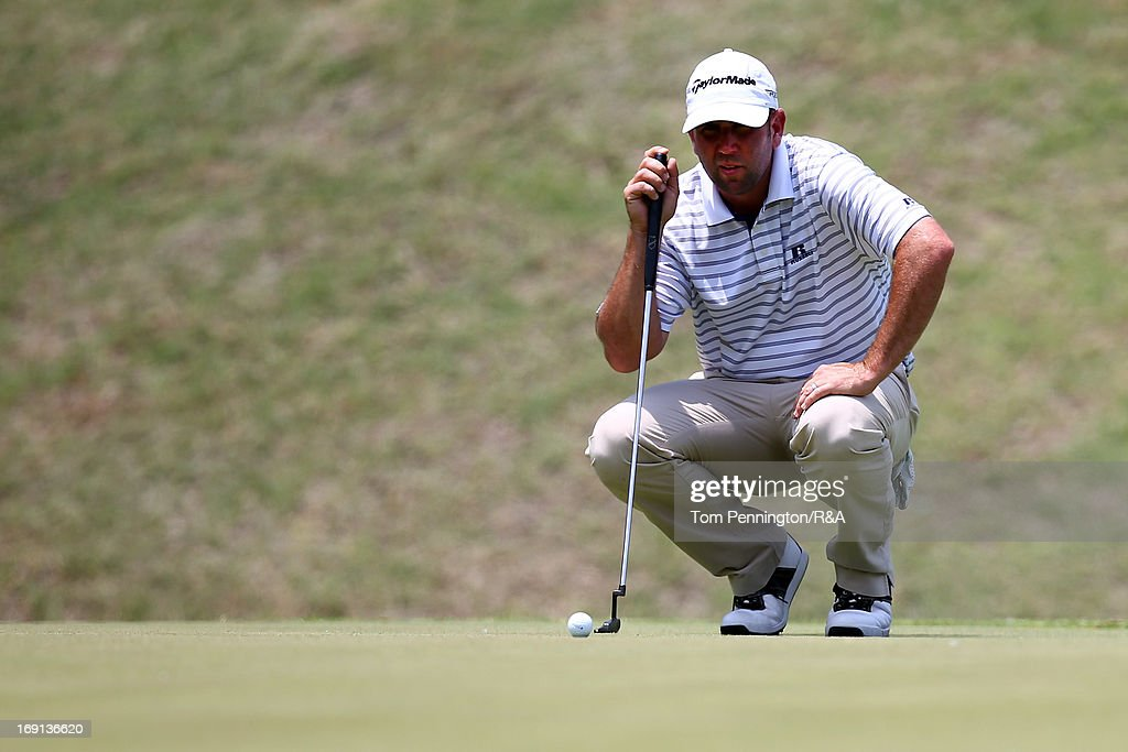 Josh Teater lines up a putt during The Open Championship International Final Qualifying America at Gleneagles Golf and Country Club on May 20, 2013 in Plano, Texas.