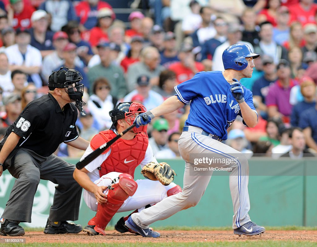 <a gi-track='captionPersonalityLinkClicked' href=/galleries/search?phrase=Josh+Thole&family=editorial&specificpeople=5741573 ng-click='$event.stopPropagation()'>Josh Thole</a> #30 of the Toronto Blue Jays at bat in the eighth inning against the Boston Red Sox at Fenway Park on September 22, 2013 in Boston, Massachusetts. The Red Sox won the game 5-2.