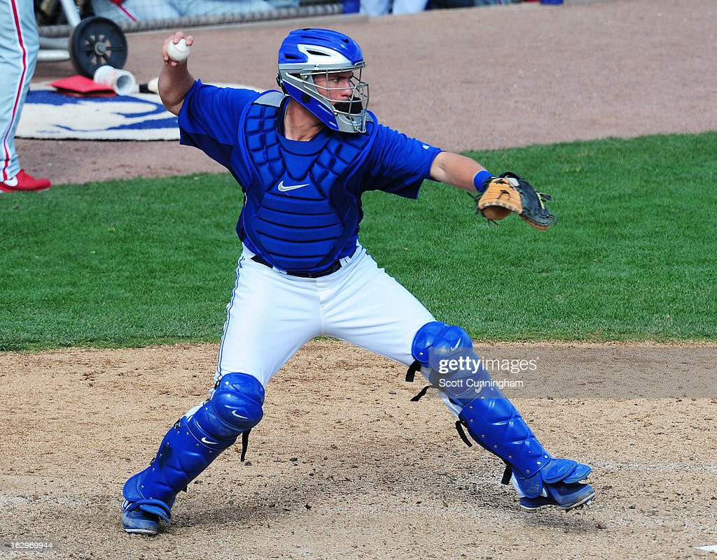 <a gi-track='captionPersonalityLinkClicked' href=/galleries/search?phrase=Josh+Thole&family=editorial&specificpeople=5741573 ng-click='$event.stopPropagation()'>Josh Thole</a> #30 of the Toronto Blue Jays makes a throw during a spring training game against the Philadelphia Phillies at Florida Auto Exchange Stadium on March 2, 2013 in Dunedin, Florida.
