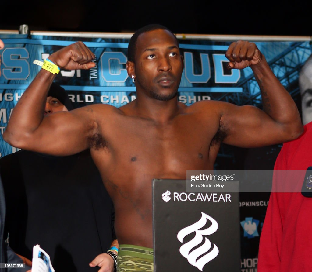 Josh Thorpe steps on the scale during the weigh in on March 8, 2013 at the Barclays Center in the Brooklyn borough of New York City.