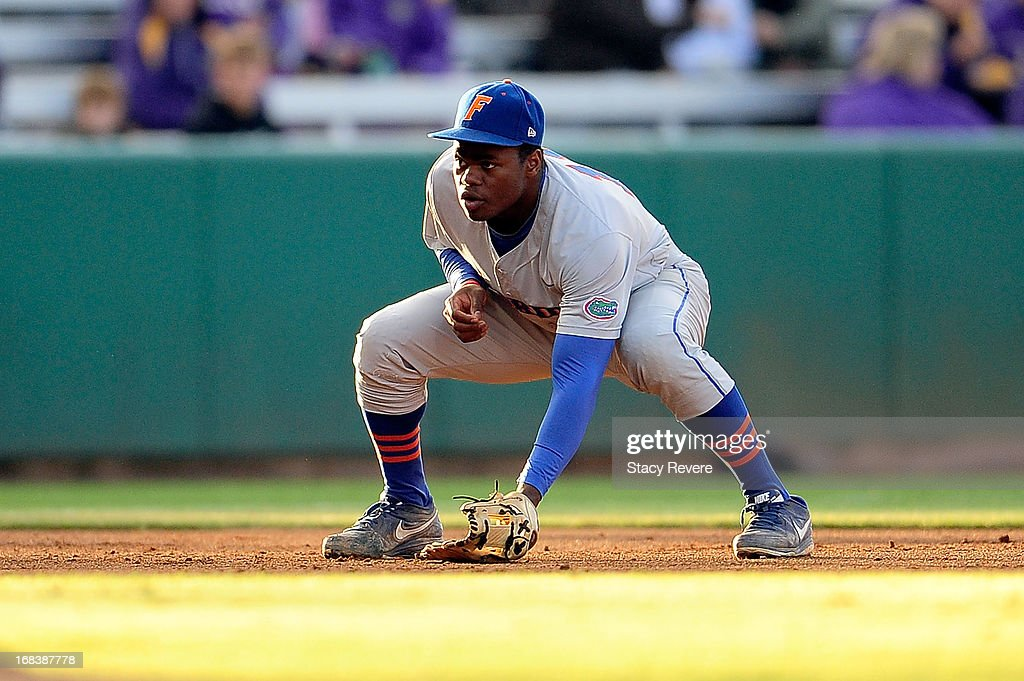 Josh Tobias #11 of the Florida Gators anticipates a play during a game against the LSU Tigers at Alex Box Stadium on May 3, 2013 in Baton Rouge, Louisiana.