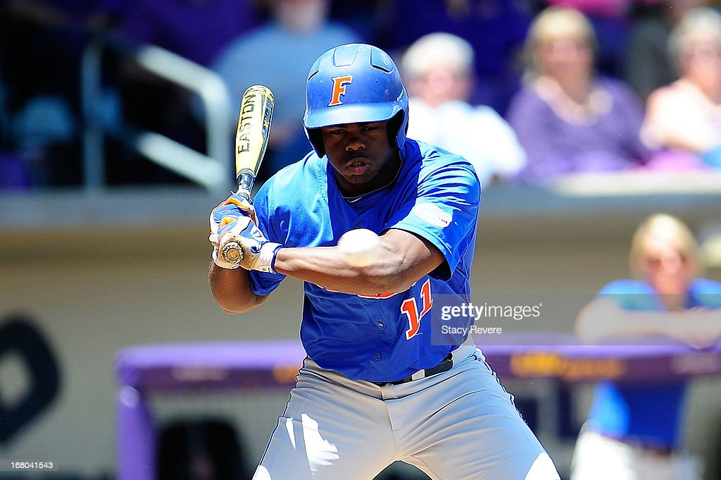 Josh Tobias #11 of the Florida Gators watches a pitch against the LSU Tigers during a game at Alex Box Stadium on May 4, 2013 in Baton Rouge, Louisiana.