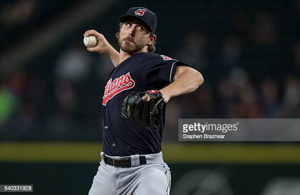 Josh Tomlin of the Cleveland Indians delivers a pitch during a game against the Seattle Mariners at Safeco Field on June 9 in Seattle Washington The...