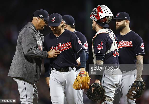 Josh Tomlin of the Cleveland Indians is relieved by manager Terry Francona in the sixth inning against the Boston Red Sox during game three of the...