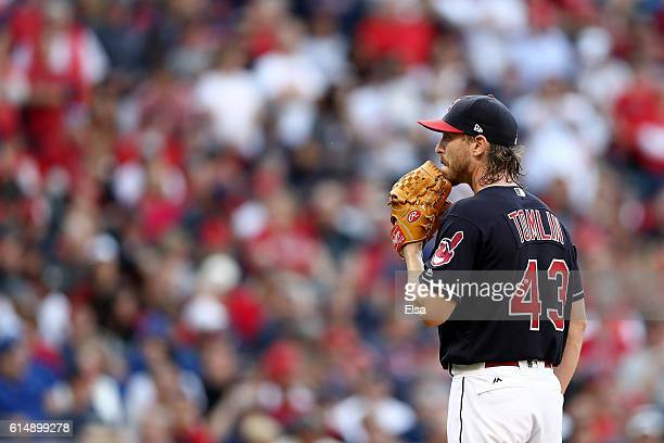 Josh Tomlin of the Cleveland Indians looks on against the Toronto Blue Jays during game two of the American League Championship Series at Progressive...
