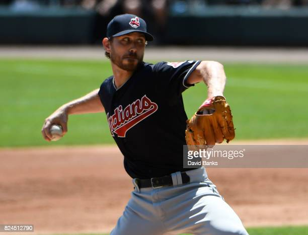 Josh Tomlin of the Cleveland Indians pitches against the Chicago White Sox during the first inning on July 30 2017 at Guaranteed Rate Field in...