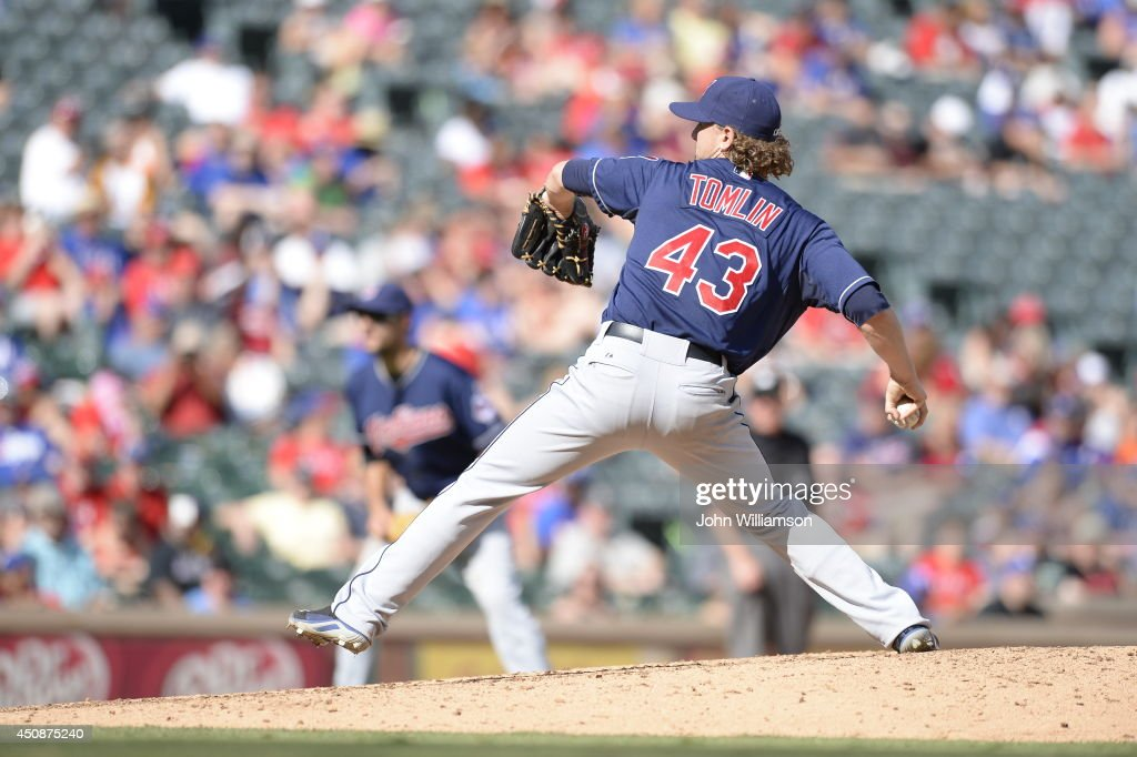 Josh Tomlin #43 of the Cleveland Indians pitches against the Texas Rangers at Globe Life Park in Arlington on June 7, 2014 in Arlington, Texas. The Cleveland Indians defeated the Texas Rangers 8-3.