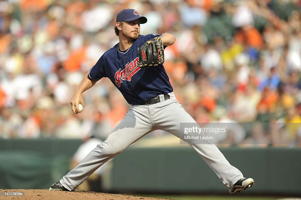 <a gi-track='captionPersonalityLinkClicked' href=/galleries/search?phrase=Josh+Tomlin&family=editorial&specificpeople=7130975 ng-click='$event.stopPropagation()'>Josh Tomlin</a> #43 of the Cleveland Indians pitches during a baseball game against the Baltimore Orioles at Oriole Park at Camden Yards on June 30, 2012 in Baltimore, Maryland.