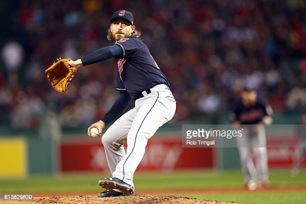 Josh Tomlin of the Cleveland Indians pitches during Game 3 of ALDS against the Boston Red Sox at Fenway Park on Monday October 10 2016 in Boston...