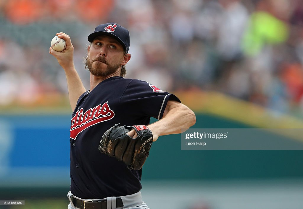 <a gi-track='captionPersonalityLinkClicked' href=/galleries/search?phrase=Josh+Tomlin&family=editorial&specificpeople=7130975 ng-click='$event.stopPropagation()'>Josh Tomlin</a> #43 of the Cleveland Indians pitches during the first inning of the game against the Detroit Tigers on June 26, 2016 at Comerica Park in Detroit, Michigan.
