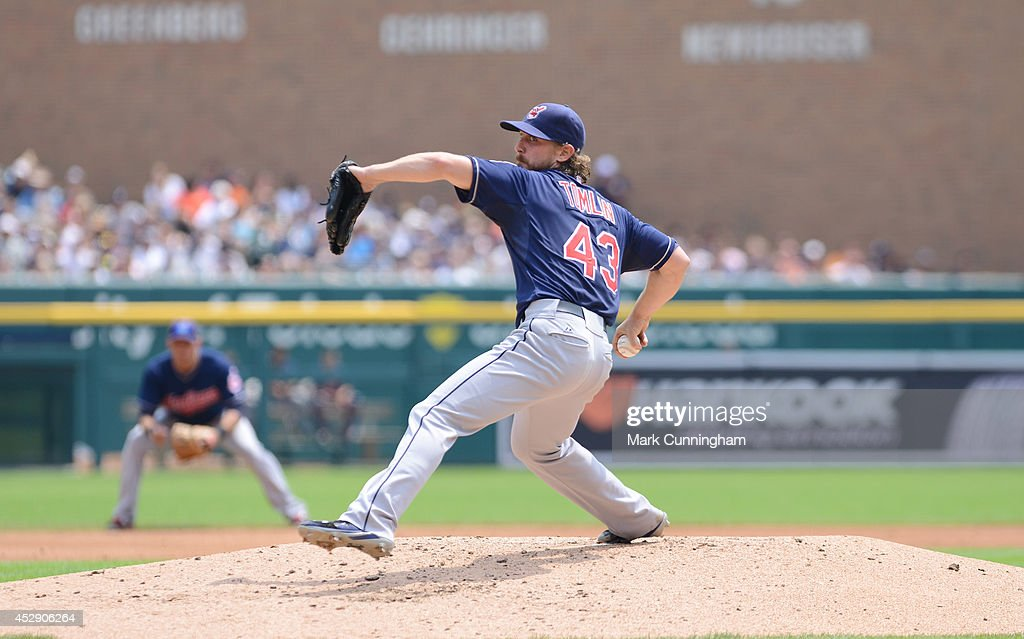 <a gi-track='captionPersonalityLinkClicked' href=/galleries/search?phrase=Josh+Tomlin&family=editorial&specificpeople=7130975 ng-click='$event.stopPropagation()'>Josh Tomlin</a> #43 of the Cleveland Indians pitches during the game against the Detroit Tigers at Comerica Park on July 20, 2014 in Detroit, Michigan. The Tigers defeated the Indians 5-1.