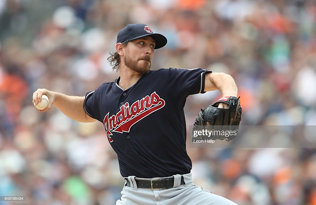 <a gi-track='captionPersonalityLinkClicked' href=/galleries/search?phrase=Josh+Tomlin&family=editorial&specificpeople=7130975 ng-click='$event.stopPropagation()'>Josh Tomlin</a> #43 of the Cleveland Indians pitches during the second inning of the game against the Detroit Tigers on June 26, 2016 at Comerica Park in Detroit, Michigan.