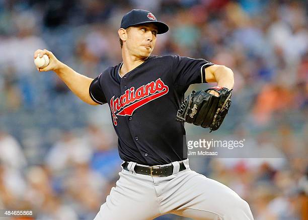 Josh Tomlin of the Cleveland Indians pitches in the first inning against the New York Yankees at Yankee Stadium on August 20 2015 in the Bronx...