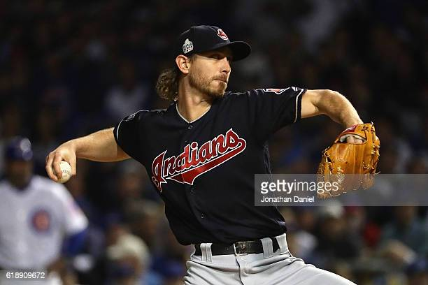 Josh Tomlin of the Cleveland Indians pitches in the first inning against the Chicago Cubs in Game Three of the 2016 World Series at Wrigley Field on...