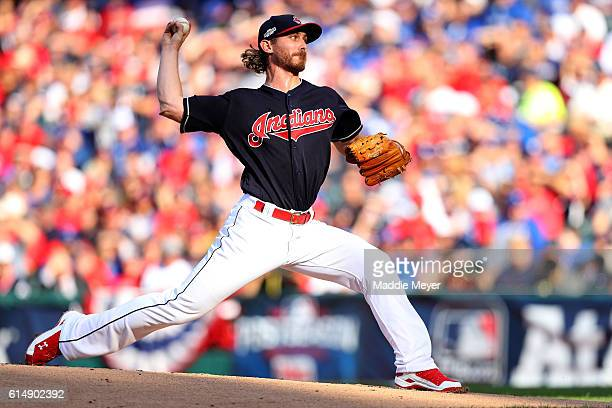 Josh Tomlin of the Cleveland Indians throws a pitch against the Toronto Blue Jays during game two of the American League Championship Series at...