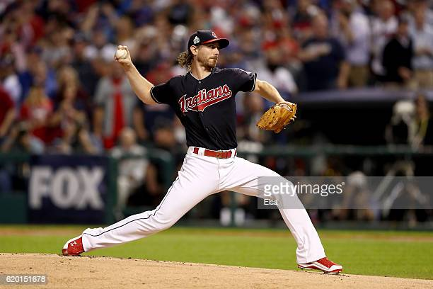 Josh Tomlin of the Cleveland Indians throws a pitch against the Chicago Cubs during the first inning in Game Six of the 2016 World Series at...