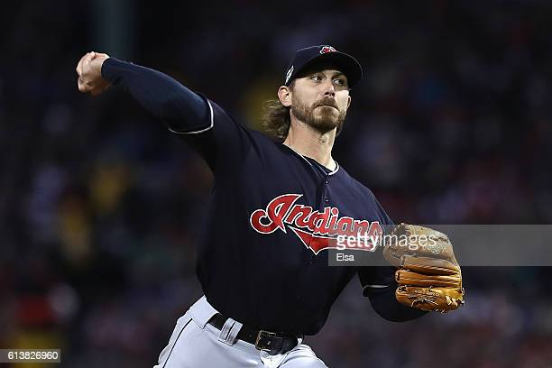 Josh Tomlin of the Cleveland Indians throws a pitch in the first inning against the Boston Red Sox during game three of the American League Divison...