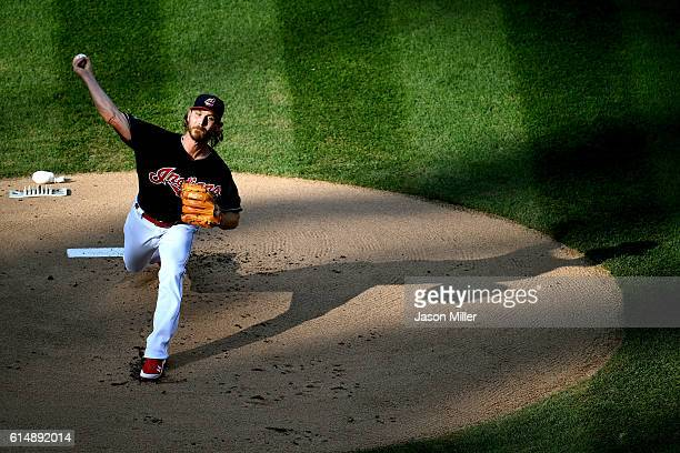 Josh Tomlin of the Cleveland Indians throws a pitch in the first inning against the Toronto Blue Jays during game two of the American League...