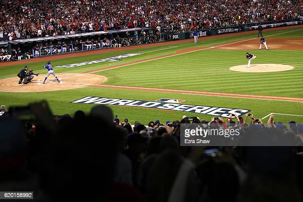 Josh Tomlin of the Cleveland Indians throws the first pitch against the Chicago Cubs during the first inning in Game Six of the 2016 World Series at...