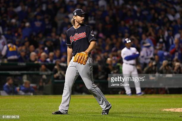 Josh Tomlin of the Cleveland Indians walks off the mound after being relieved in the fifth inning against the Chicago Cubs in Game Three of the 2016...