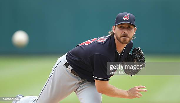 Josh Tomlin of the Cleveland Indians warms up prior to the start of the game against the Detroit Tigers on June 26 2016 at Comerica Park in Detroit...