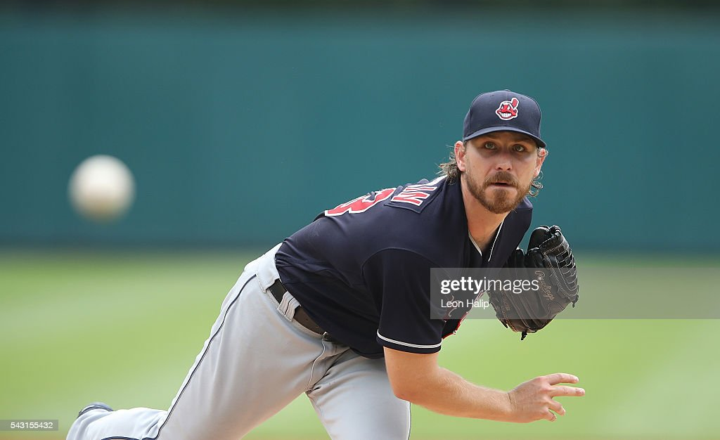 <a gi-track='captionPersonalityLinkClicked' href=/galleries/search?phrase=Josh+Tomlin&family=editorial&specificpeople=7130975 ng-click='$event.stopPropagation()'>Josh Tomlin</a> #43 of the Cleveland Indians wars up prior to the start of the game against the Detroit Tigers on June 26, 2016 at Comerica Park in Detroit, Michigan.