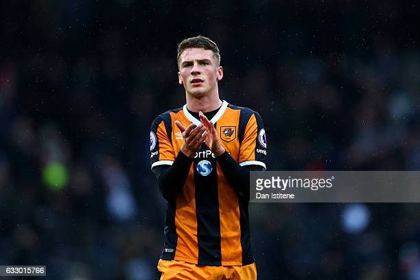 Josh Tymon of Hull City applauds the fans after the Emirates FA Cup Fourth Round match between Fulham and Hull City at Craven Cottage on January 29...
