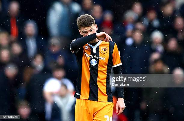Josh Tymon of Hull City reacts during The Emirates FA Cup Fourth Round match between Fulham and Hull City at Craven Cottage on January 29 2017 in...