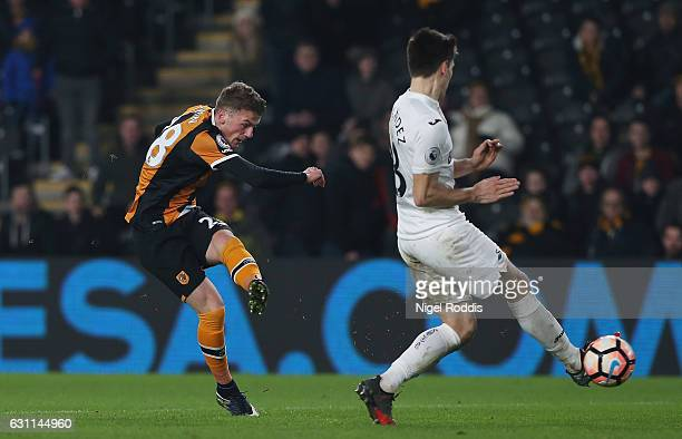 Josh Tymon of Hull City scores his sides second goal during the Emirates FA Cup third round match between Hull City and Swansea City at KCOM Stadium...