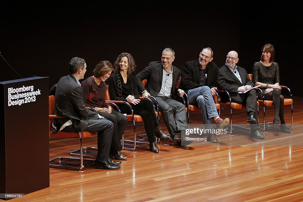 Josh Tyrangiel, editor at Bloomberg Businessweek, from left, Jeanne Gang, founder and principal of Studio Gang Architects, Ada Tolla, and Giuseppe Lignano, founders of LOT-EK, Thom Mayne, founder of Morphosis Architects, Peter Walker, founder and partner at PWP Landscape Architecture, and Janette Sadik-Khan, commissioner at New York City Department of Transportation, participate in a group discussion at the Bloomberg Businessweek Design 2013 conference in San Francisco, California, U.S., on Monday, Jan. 14, 2013. The panel discussed ways to make cities more resilient, more livable, and more sustainable. Photographer: Tony Avelar/Bloomberg via Getty Images