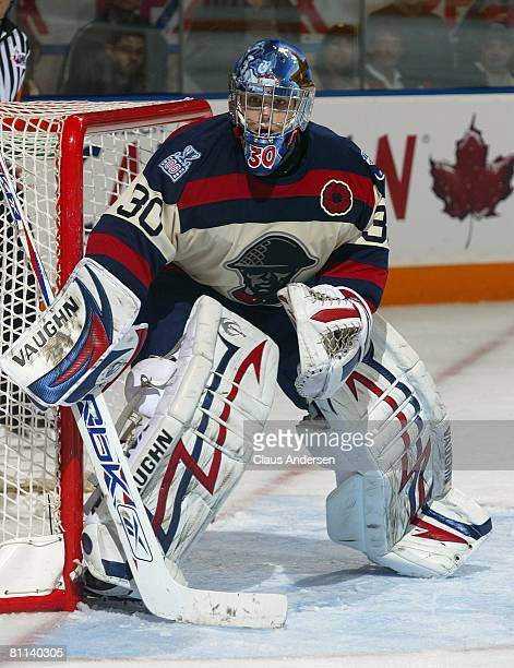 Josh Unice of the Kitchener Rangers waits to face a shot in the opening game of the 2008 Memorial Cup against the Gatineau Olympiques on May 16 2008...