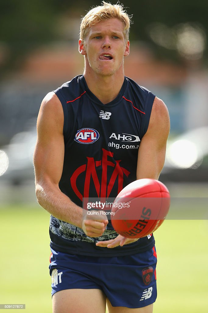 Josh Wagner of the Demons handballs during a Melbourne Demons AFL pre-season training session at Gosch's Paddock on February 9, 2016 in Melbourne, Australia.