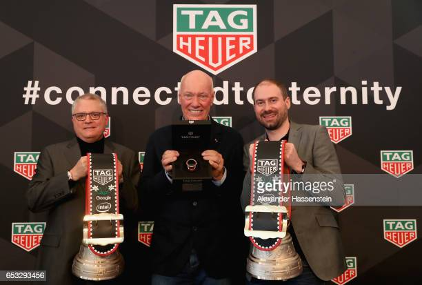 Josh Walden Senior Vice President and General manager New Technology Group poses with JeanClaude Biver CEO of TAG Heuer and President of the LVMH...