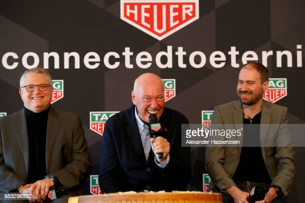 Josh Walden Senior Vice President and General manager New Technology Group attends with JeanClaude Biver CEO of TAG Heuer and President of the LVMH...