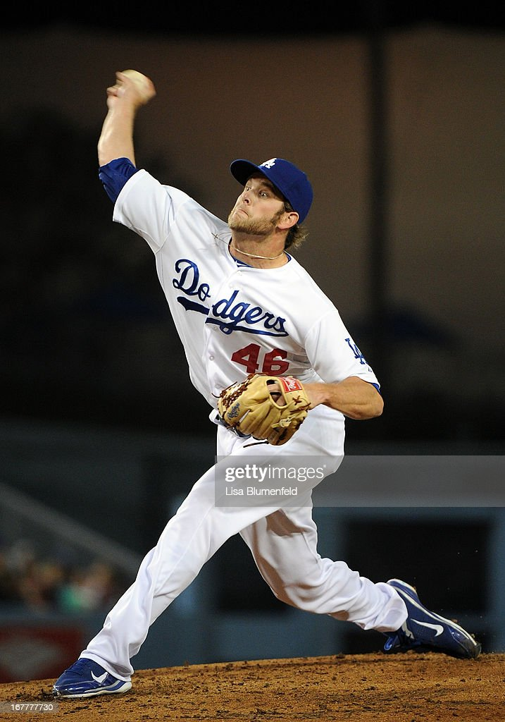 Josh Wall #46 of the Los Angeles Dodgers pitches against the Colorado Rockies at Dodger Stadium on April 29, 2013 in Los Angeles, California.