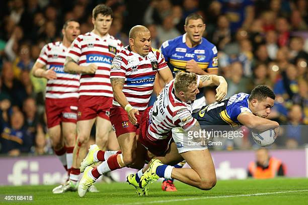 Josh Walters of Leeds Rhinos crosses the try line to score Leeds Rhinos winning try during the First Utility Super League Grand Final between Leeds...