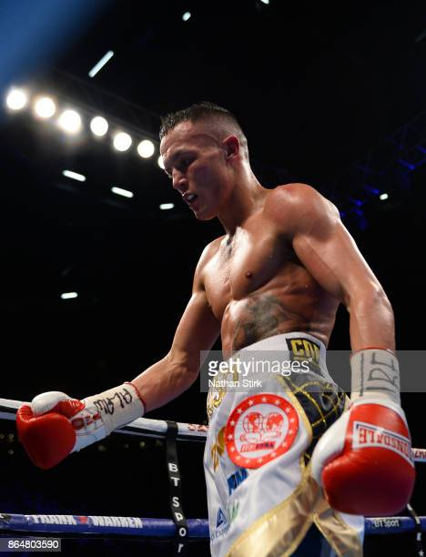 Josh Warrington at the end of the round during the IBF Featherweight World title fight at First Direct Arena Leeds on October 21 2017 in Leeds England