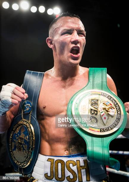 Josh Warrington celebrates beating Dennis Ceylan after their Featherweight bout at the First Direct Arena Leeds