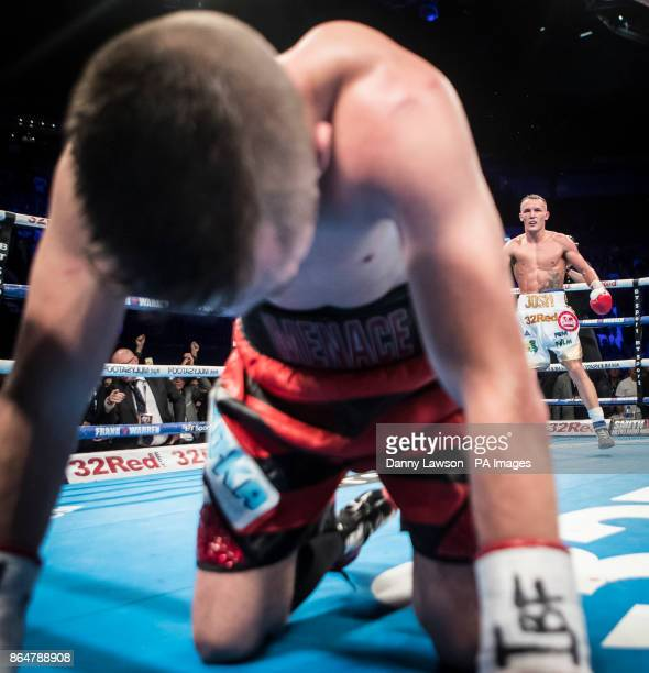 Josh Warrington looks on after knocking down Dennis Ceylan during their Featherweight bout at the First Direct Arena Leeds